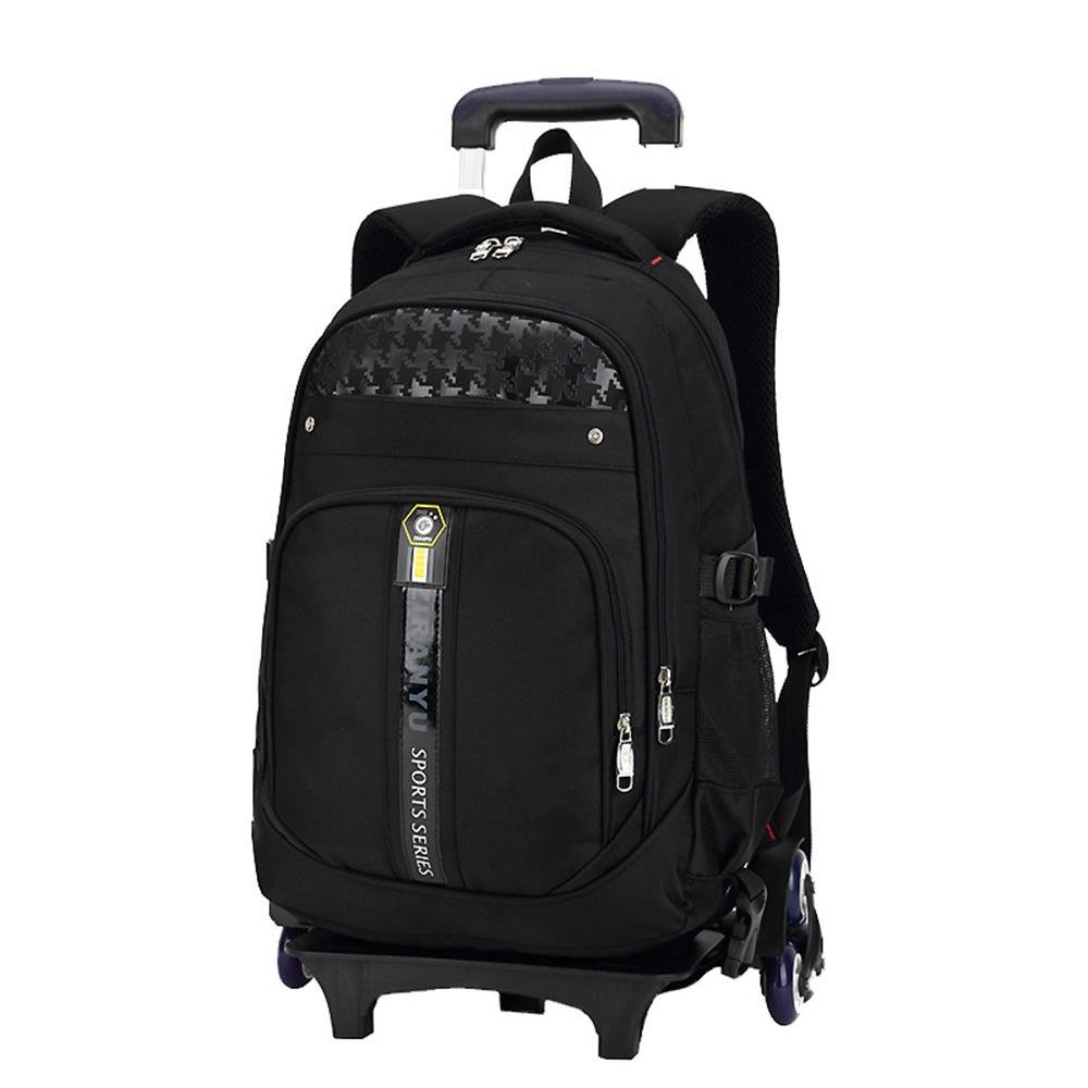 Boy and Girl Student Polyester Oxford Cloth Trolley Bag Double Shoulder Backpack Hand Pull Box , Black