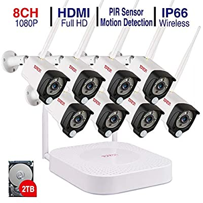 """Tonton Expandable All-in-One Full HD 1080P Security Camera System Wireless, 8CH WiFi NVR with 15.6"""" Monitor, 1TB HDD, 4PCS 1080P 2.0 MP Waterproof Outdoor Bullet Cameras with Audio Record N PIR Sensor"""