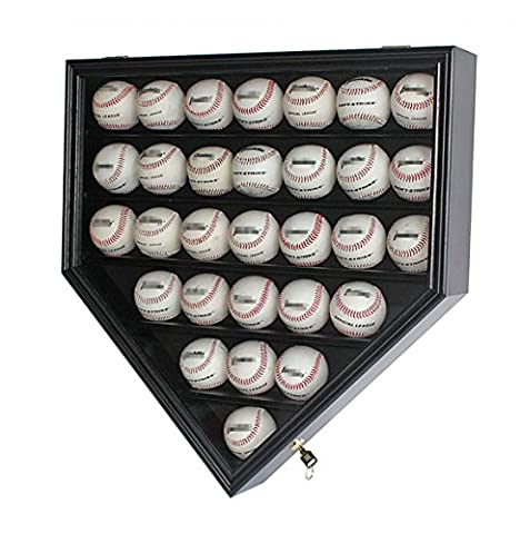 30 Baseball Display Case Cabinet Holder Rack Home Plate Shaped w/ UV Protection- Lockable B30H-BL - Sports Memorabilia Display Case