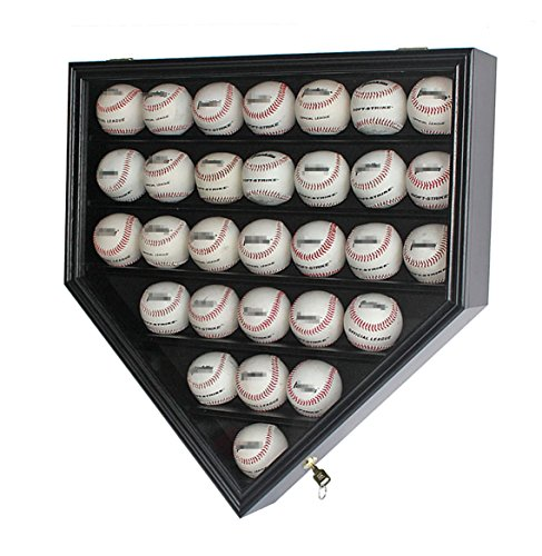(30 Baseball Display Case Cabinet Holder Rack Home Plate Shaped w/UV Protection- Lockable B30H-BL)