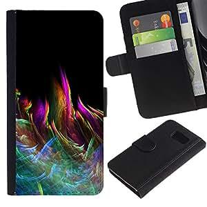 // PHONE CASE GIFT // Moda Estuche Funda de Cuero Billetera Tarjeta de crédito dinero bolsa Cubierta de proteccion Caso Samsung Galaxy S6 / Colorful Abstract Pattern Flame /