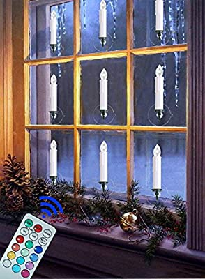 Window Candles | Flameless Taper Candles Led Flickering Votive Unscented Battery Operated | White Candles Electric Tealight Remote with Timer Clip Gift Party Wedding Holiday Tree Decoration