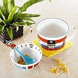 Panbado Porcelain Cute Cartoon Noodles Bowl Novelty Ceramic Lovely Serving Cereal Bowl Cup Mug with Spoon - Blue London British Royal Guard