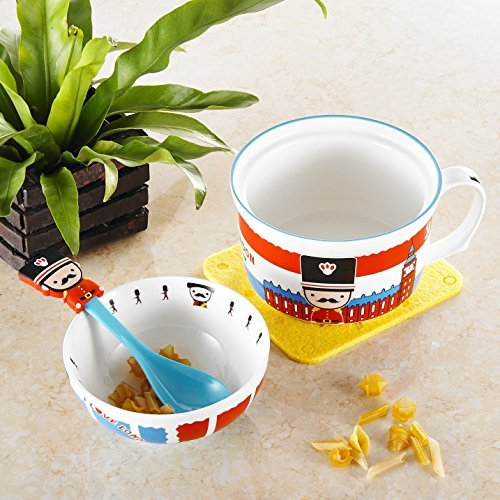 Panbado Porcelain Cute Cartoon Noodles Bowl Novelty Ceramic Lovely Serving Cereal Bowl Cup Mug with Spoon - Blue London British Royal Guard