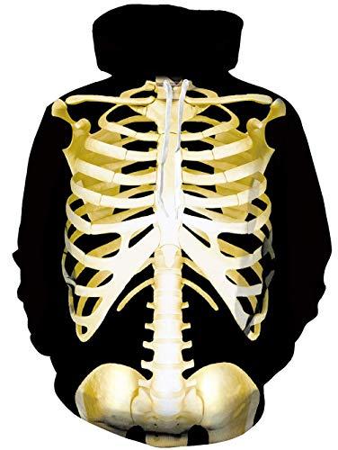 Cutemile Men's Women's 3D Digital Printed Body Skeleton Halloween Costume Party Hooded Sweatshirts Top -