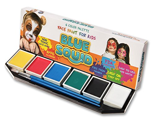 Blue Squid Face Paint for Kids 6 Color Palette | Jumbo Size Sturdy Case | 2 Brushes & Stencils | Best Quality Painting Kit | Vibrant Water Based Set Non-Toxic FDA Approved | +BONUS Online Guide