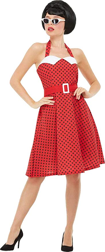 1950s Costumes- Poodle Skirts, Grease, Monroe, Pin Up, I Love Lucy Smiffys Ladies Fancy Dress Party 50s Rockabilly Pin Up Costume $61.49 AT vintagedancer.com