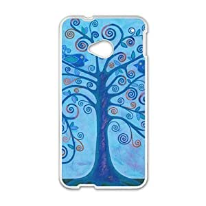 Love Tree of Wisdom - Retail Packaging Colorful Tree Pattern [blue Backgrounds] Custom Case for HTC One M7