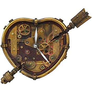 Steampunk Wall Clock Heart Pierced Cupid Gearwork Painted Resin Toy