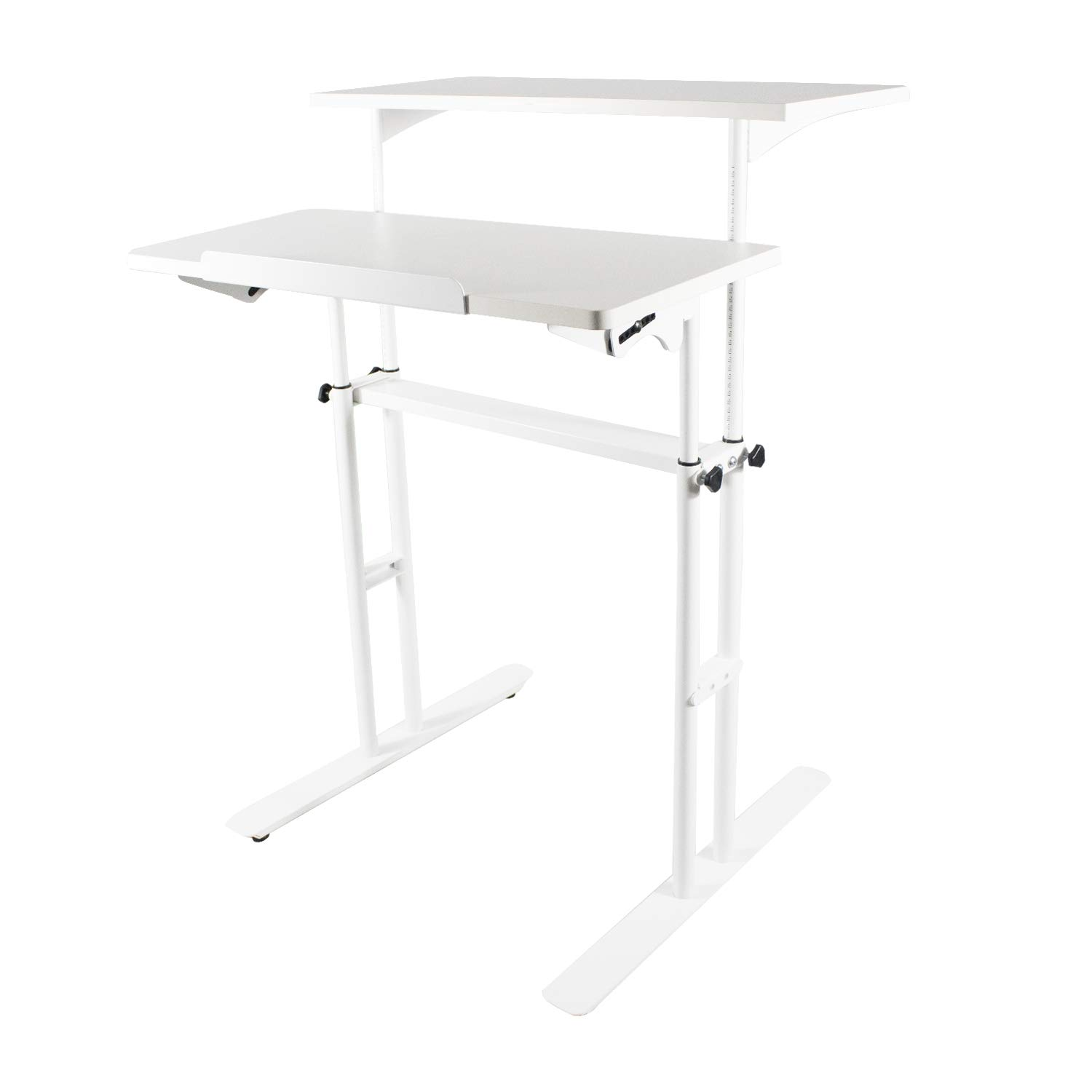 Weinerbee Adjustable Height Computer Desk Standing Seating 2 Modes (White)