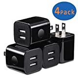 plug block - X-EDITION USB Wall Charger, 4-Pack Dual Port USB 2.1Amp Wall Charger Plug Power Adapter Charging Block Cube for iPhone X/8/7/6 Plus, iPad, Samsung Galaxy S9/S8/S7/S6 Edge, LG, ZTE, Motorola (Black)