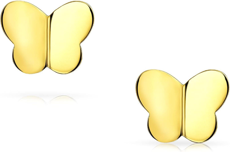 Petit Papillon Clous Et Puces DOreille D Minimaliste De La Chance Pour Femme Ados LAmie Vrai Or 14K Jaune /À Vis