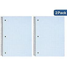 "1InTheOffice Ruled Paper Graph Pad, Quadrille Spiral Notebook, 8""H x 10 1/2""W ""2 Pack"""
