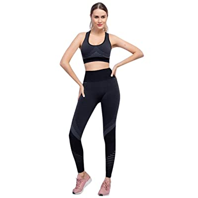 Akabsh Workout Suit Set Sports Sets for Women Sleeveless Ladies Shoulder Breastplate Top and Leggings Fitness Sports Pants Yoga Suit Trousers: Home & Kitchen