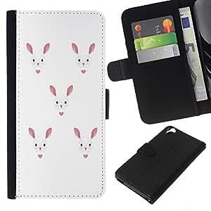 KLONGSHOP // Tirón de la caja Cartera de cuero con ranuras para tarjetas - Conejo de conejito del amor del corazón Blanco Rosa - HTC Desire 820 //