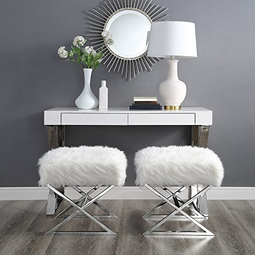 Inspired Home Aurora White Faux Fur Ottoman – Stainless Steel Chrome X-Legs Upholstered Bedroom 1 pc ONLY