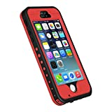 iPhone 5S/SE Case, Waterproof Dirtproof Shockproof Durable Hard Cover Case for Apple iPhone 5S, Fully Supports Finger Print Function for 5S -Red