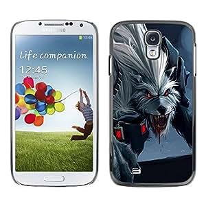 Paccase / SLIM PC / Aliminium Casa Carcasa Funda Case Cover para - Scary Wolf - Samsung Galaxy S4 I9500