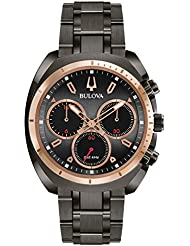 Bulova Mens Curv Collection Quartz Stainless Steel Casual Watch, Color:Grey (Model: 98A158)