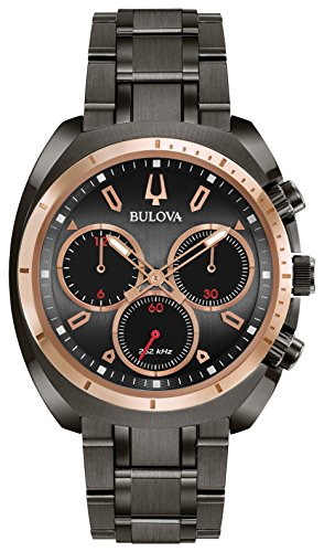Bulova Men's 'Curv Collection' Quartz Stainless Steel Casual Watch, Color:Grey (Model: 98A158)