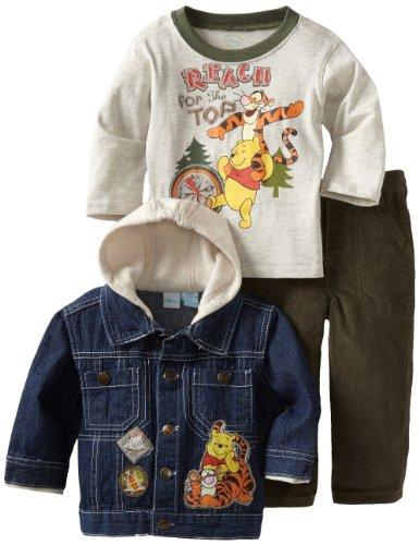 Disney Baby Boys' 3 Piece Winnie The Pooh And Tigger Denim Jacket Set, Open Beige, 12 Months