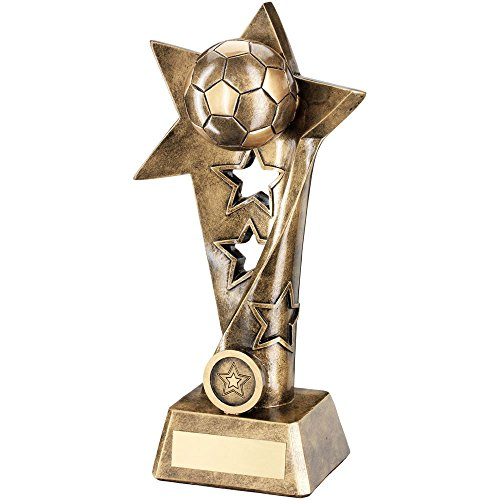 Star Column Trophy (Lapal Dimension BRZ/GOLD FOOTBALL TWISTED STAR COLUMN TROPHY - (1in CENTRE) 10.25in)