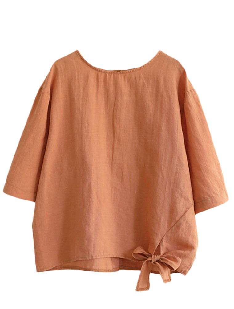 Minibee Women's Cotton Linen Blouse Loose Tunics Tops Shirt XL Orange