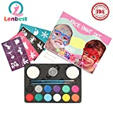 Lenbest Face Paint Set for Kids, 12 Color Kit with 24 Stencils, 1 Glitter, 2 Brushes, 2 Sponges & 2 Eyeshadow Sticks - Ultimate Face Painting Party Palette - Non-Toxic - Hypoallergenic - Water Based