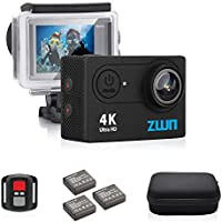 ZWN Z9 Action Camera 4K WiFi Ultra HD Waterproof Sport Camera 2 Inch LCD Screen 12MP 170 Degree Wide Angle Free Travel Bag Include 20 Accessories Kits With 2 Extra Rechargeable Battries as Gift