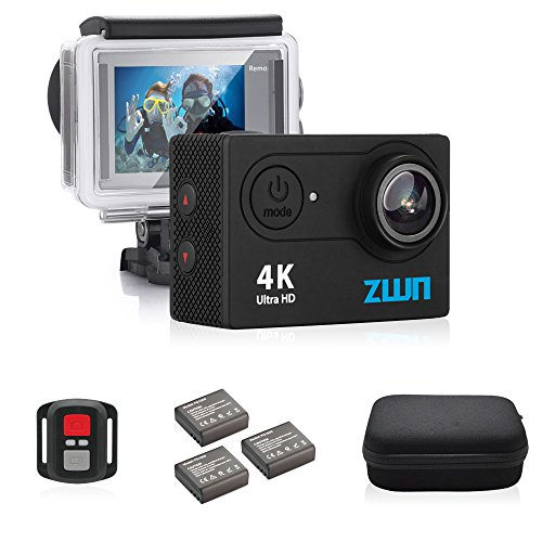 ZWN H9 Action Camera 4K WiFi Ultra HD Waterproof Sport Camera 2 Inch LCD Screen 12MP 170 Degree Wide Angle 2 Extra Rechargeable 1050mAh Batteries Free Travel Bag Include 20 Accessories Kits