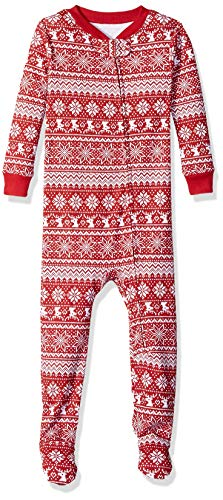 Amazon Essentials Toddler and Baby  Zip-Front Footed Sleeper, Red Snowflake, 12-18M]()