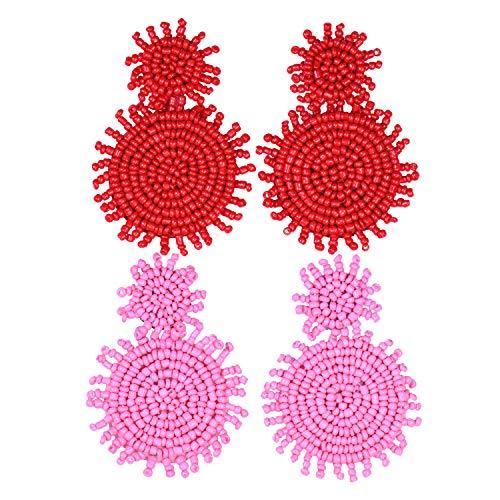 2 Pairs Statement Earrings Beaded Earrings for Women - Bohemian Drop Earrings Layered Disc Dangle Earrings Idea Gift Red Pink