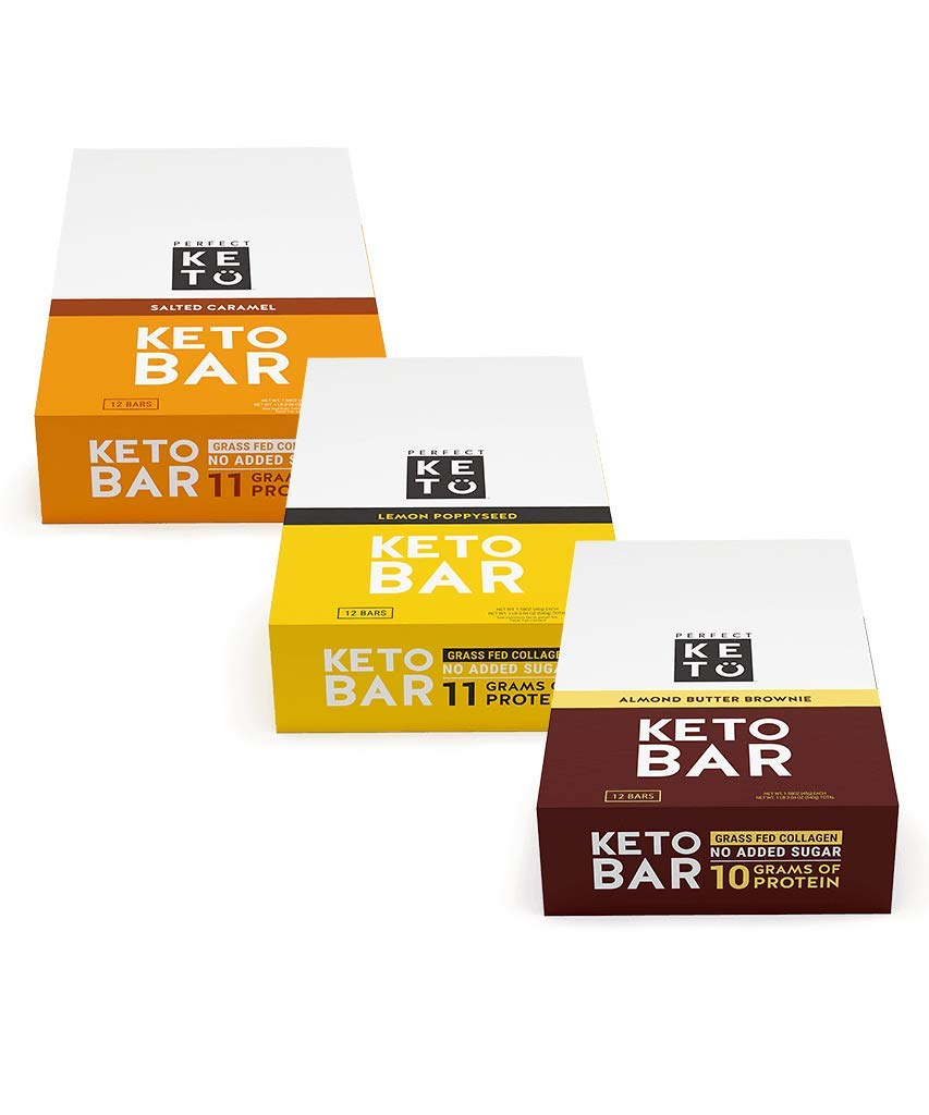 New! Perfect Keto Bar, Keto Snack (12 Count), No Added Sugar. 10g of Protein, Coconut Oil, and Collagen, with a Touch of Sea Salt and Stevia. (3 Boxes, Bundle Pack)