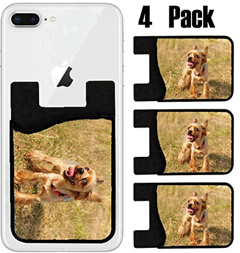MSD Phone Card holder, sleeve/wallet for iPhone Samsung Android and all smartphones with removable microfiber screen cleaner Silicone card Caddy(4 Pack) Tired lap dog portrait with tongue out and look