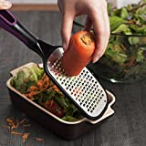 Zodaca Cheese Grater Lemon Zester Mandoline Slicer With Comfortable Long Anti Slip Grip Handle Kitchen Tool For Vegetables, Fruits, Ginger, Cheese & Chocolate, Black/Purple