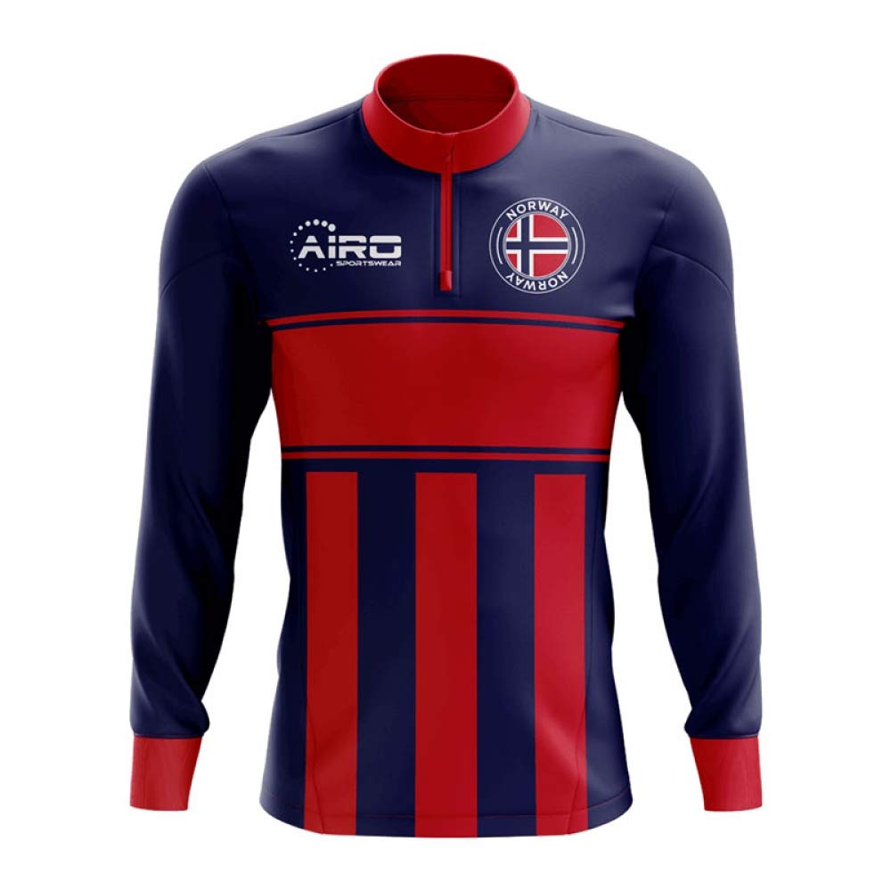 Norway Concept Football Half Zip Midlayer Top (Blue-Red) B07NGM76F5 XS Boys|Red Red XS Boys