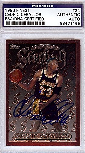 b872a53b17b Cedric Ceballos Autographed 1996 Finest Card  34 Los Angeles Lakers   83471455 - PSA