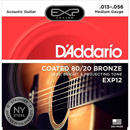 Price comparison product image D'Addario EXP12 with NY Steel 80/20 Bronze Acoustic Guitar Strings, Coated Medium, 13-56