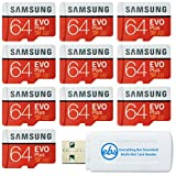 Samsung 64GB Evo Plus MicroSD Card (10 Pack EVO+ Bundle) Class 10 SDXC Memory Card with Adapter (MB-MC64G) with (1) Everything But Stromboli (TM) Micro & SD Card Reader