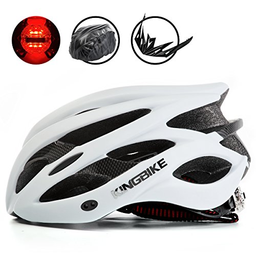 KINGBIKE Adult Bike Helmet Ultralight with Bicycle Helmets Rain Cover and Safety Rear Led Light Visor for Men Women Cycling (White Road Bicycle)