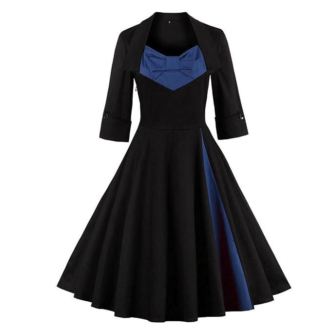 Lenfesh Las Vestido de Noche Fiesta Encaje Vintage Vestidos Mujer para Año Nuevo Fiesta Coctel Boda