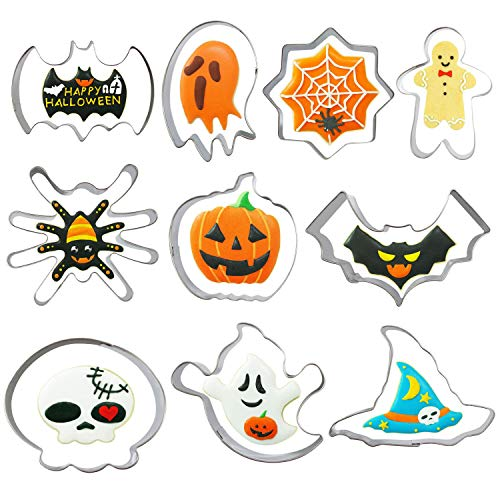 Halloween Cookie Cutters Set - 10 Piece - Pumpkin, Bat, Ghost, Witch Hat, Spider, Cobweb, Skull and Skeleton -