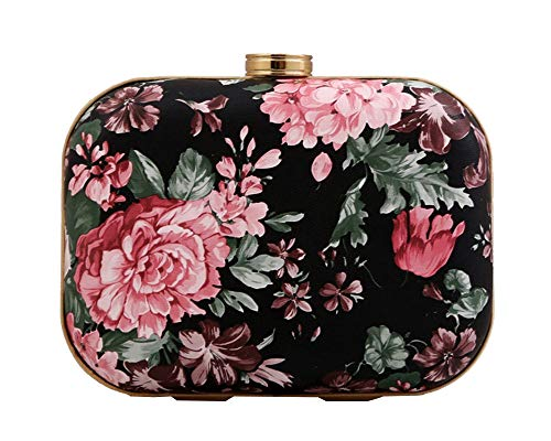 (Womens PU Leather Evening Clutch Grab Bag Formal Occasion Wedding Party Wallet(Peony))
