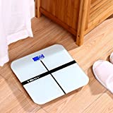 Ollieroo White 400lb Precision Digital Body Weight Bathroom Scale with Tempered Glass Blue LCD Display Smart Step-on