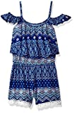One Step Up Girls' Little Printed Soft Knit Romper, Navy Noir Multi, 5/6