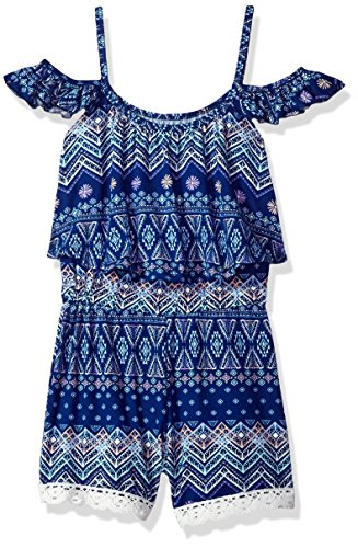 One Step Up Girls Printed Soft Knit Romper