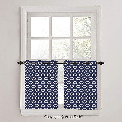 PUTIEN Indigo Half Window Curtain Classic Kitchen Curtains Checkered Design Curtains for Bathroom,W42 x L24-Inch,Grunge Abstact Geometrical Design with Sketchy Round Rectangulars Image