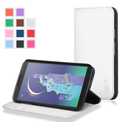 Google Nexus 6 Case -Exact Google Nexus 6 Case [Billfold Series] PU Leather Wallet Flip Cover Case for Google Nexus 6 (2014) White