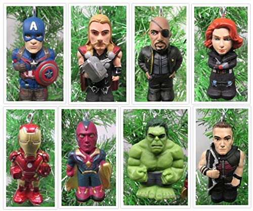 Super Hero Team Avengers Ornament Set Featuring Hulk, Captain America, Iron Man and Other Avenger Team Members - Unique Shatterproof Plastic Design -