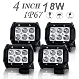 DOT Approved 4Pcs 4Inch 18W Spot LED Light Bar Offroad Pods Lights 4wd LED Driving Lamp Work Light Bulb Fog Lights Backup Reverse Lights for Truck Pickup Jeep SUV ATV UTV Tractor Boat Waterproof IP67 12V/24V